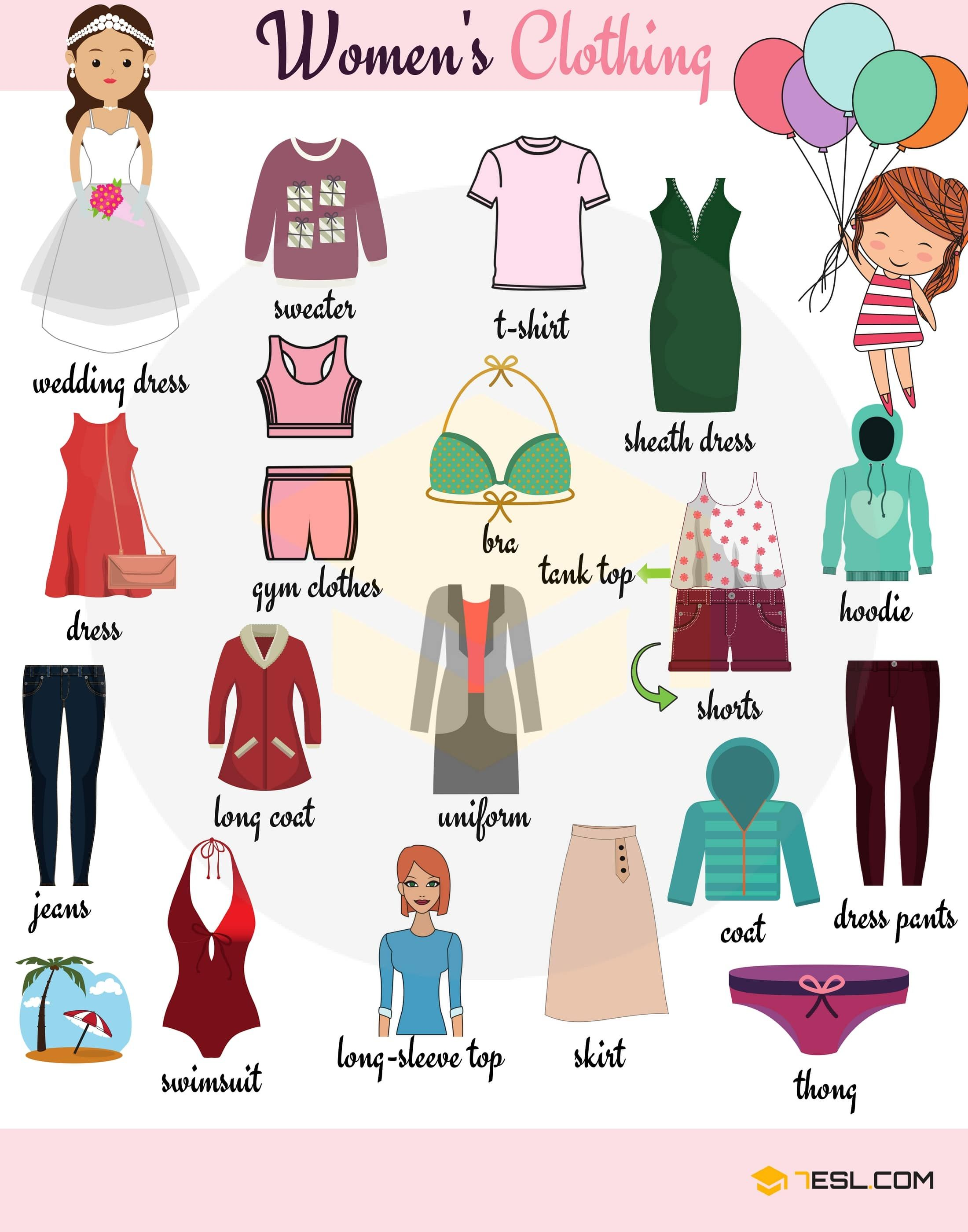 Women S Clothing Names With Printable Pictures