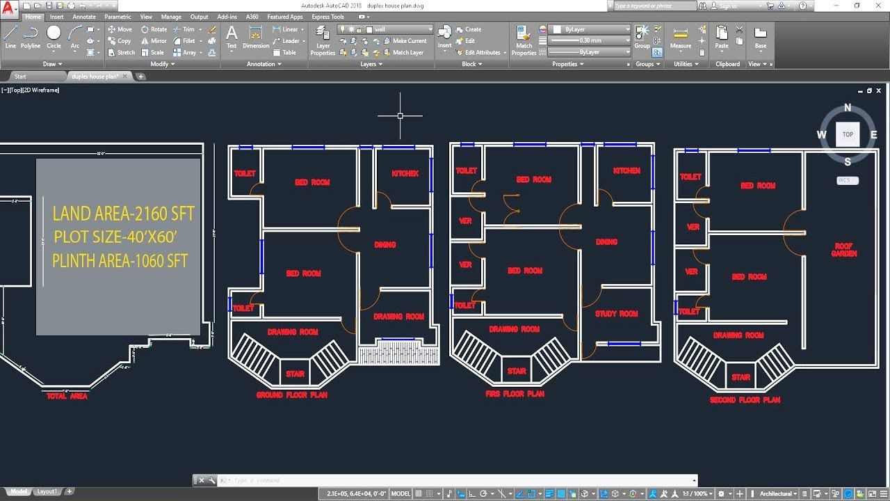 Making A Simple Floor Plan Idea In Autocad For Beginner Simple Floor Plans Autocad How To Plan