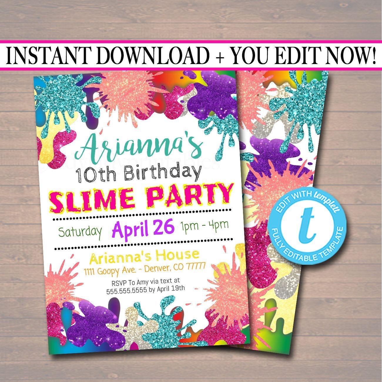 Editable slime party birthday invitation slime mad