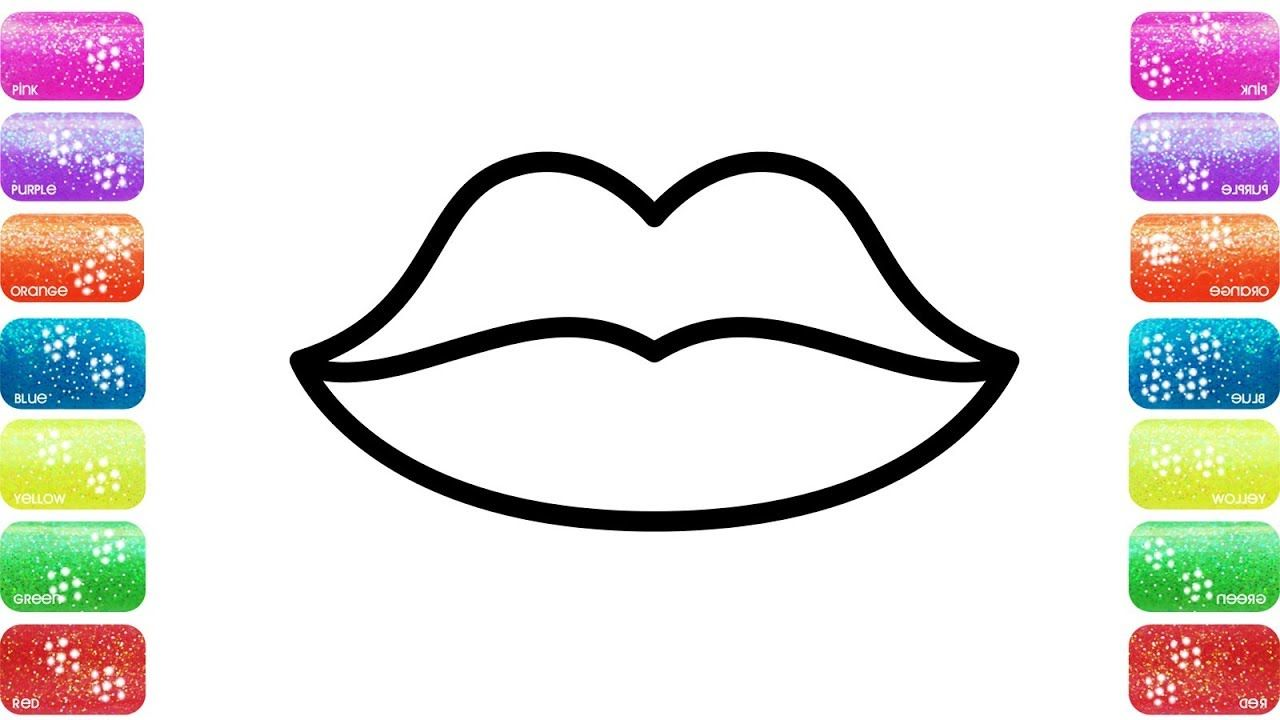 Glitters Lips Coloring Page For Kids Accessory For Girls