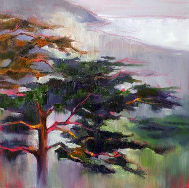 Meditative pine trees in coastal fog
