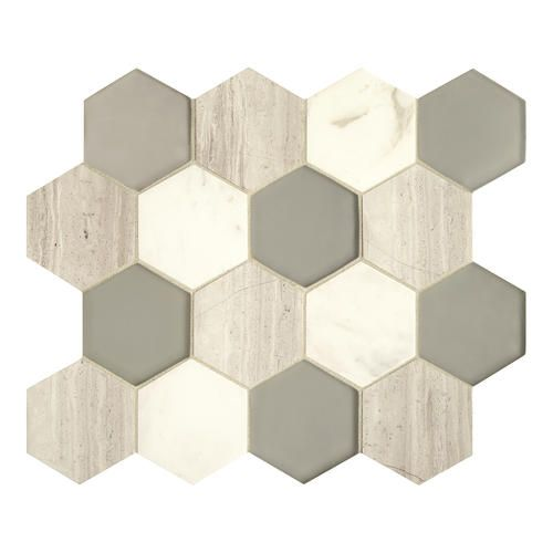 Grand Terrace White Lace Hexagon Stone/Glass Mosaic Our Fixer
