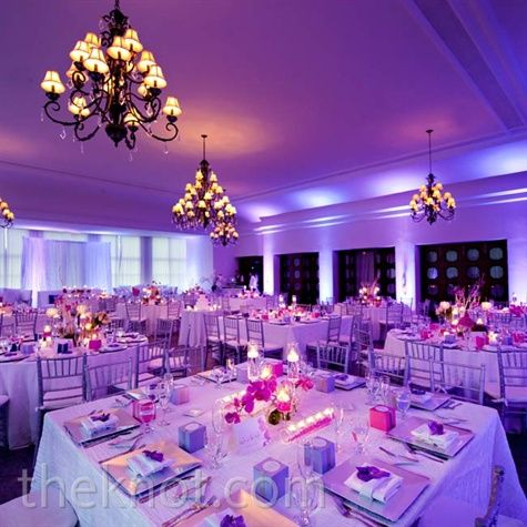 Purple Reception Décor- lighting makes a big difference in how the ...