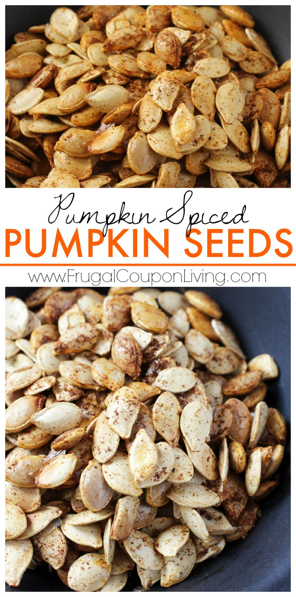 Pumpkin Spiced Pumpkin Seeds on Frugal Coupon Living. All of the warm, comforting flavors of the season in little bites.  Also great with cinnamon!