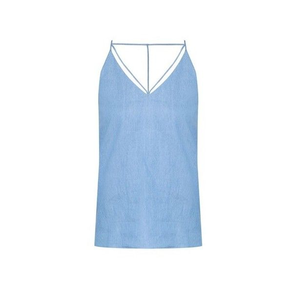ZALORA Love V Strap Cami Top ❤ liked on Polyvore featuring tops, strappy tank top, cami tank tops, v neck camisole, sleeveless t shirt and blue tank top