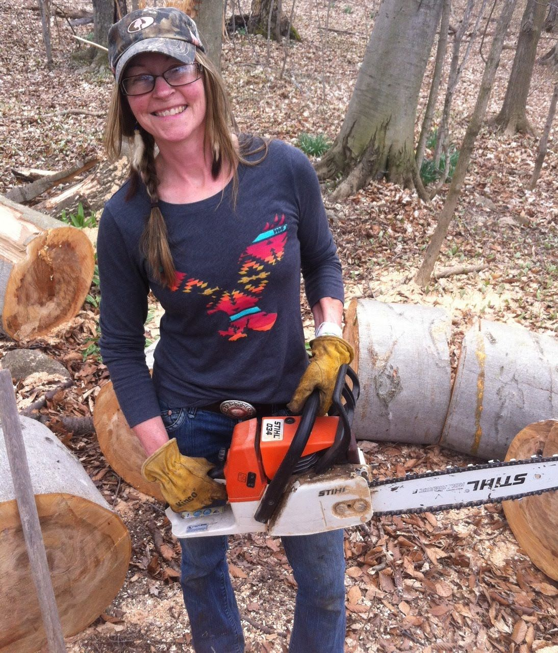 Country girl road commission chainsaw to the rescue with