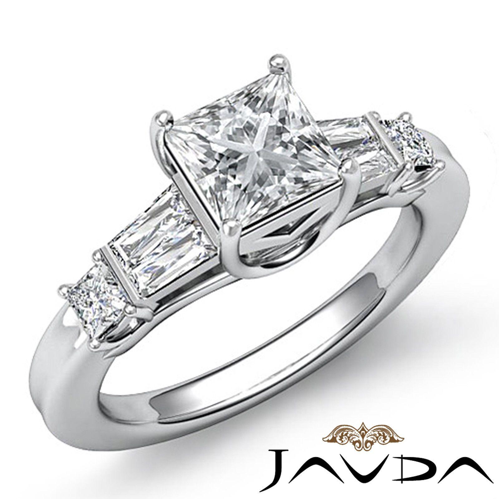 Princess Cut Three Stone Diamond Engagement Ring GIA I SI1 14k White Gold 1 45ct | eBay