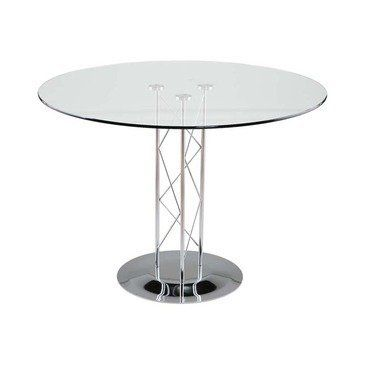 Eurostyle Trave 42 Inch Round Glass Dining Table W Chrome Base By