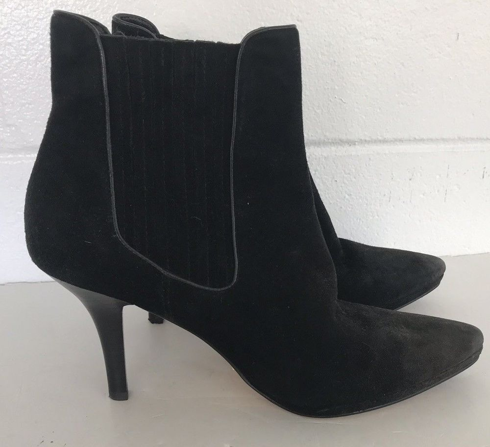 f0693ba8e7584 Cole Haan Black Suede Short Ankle BOOTS Size 7.5 Slip-on 7 1/2 high heels  Dress