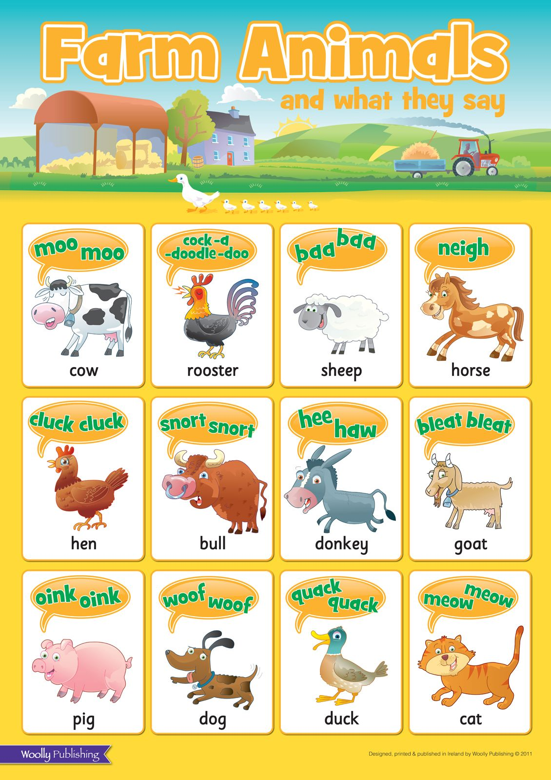 Farm animals and what they say wall chart ideal for bedrooms  playrooms have great fun making the animal noises also rh pinterest