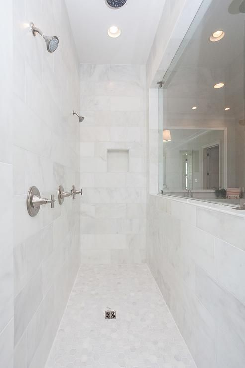 Long Walk In Shower Displays Honed White Marble Tiles A