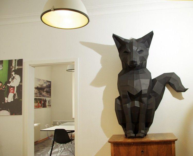 Paperwolf paper craft DIY trophy designs Papierskulpturen - interieur design dreidimensionaler skulptur