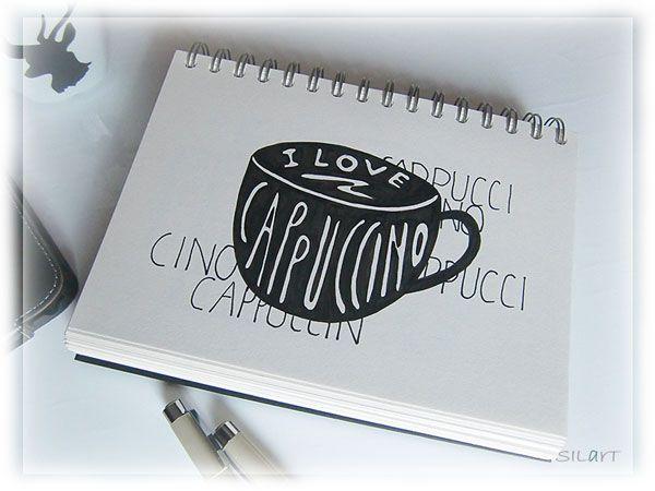 """Handlettering sketchbook """"love cappuccino"""""""