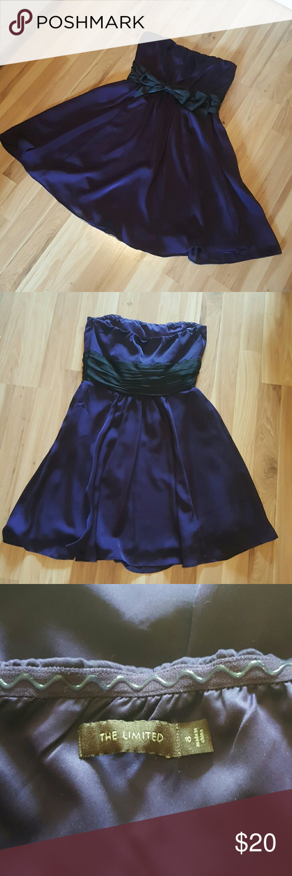 Purple Satin dress from the Limited Perfect party  dress, strapless, with a front tie bow and wide ribbon detail on back, deep purple with black tie, from the Limited. The Limited Dresses Strapless