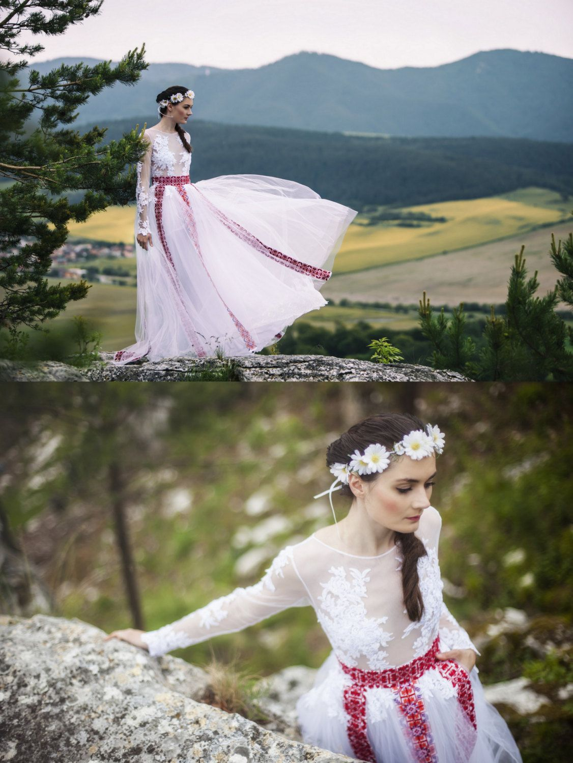 White embroiderde dress with lace by AtelierDeCoutureJK on