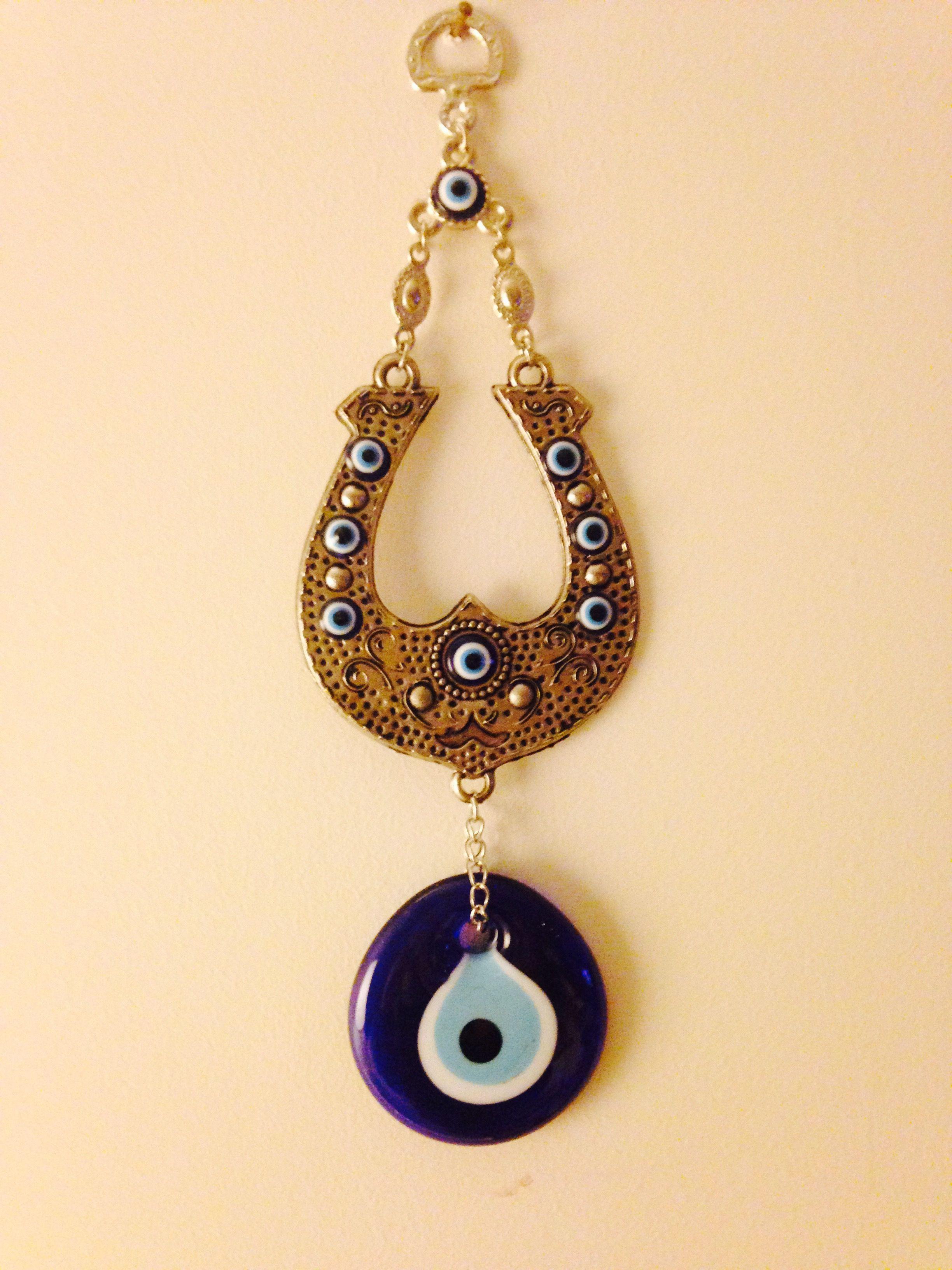 Greek Handmade Horseshoe Evil Eye Wall Hanging | Greek Evil Eye-Mati ...