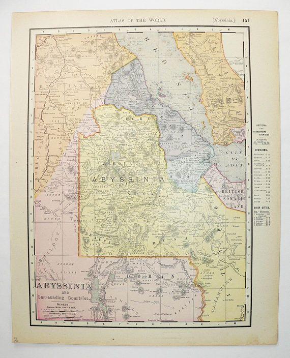 1900 Vintage Abyssinia Map Somalia Eritrea Map NE Africa Map