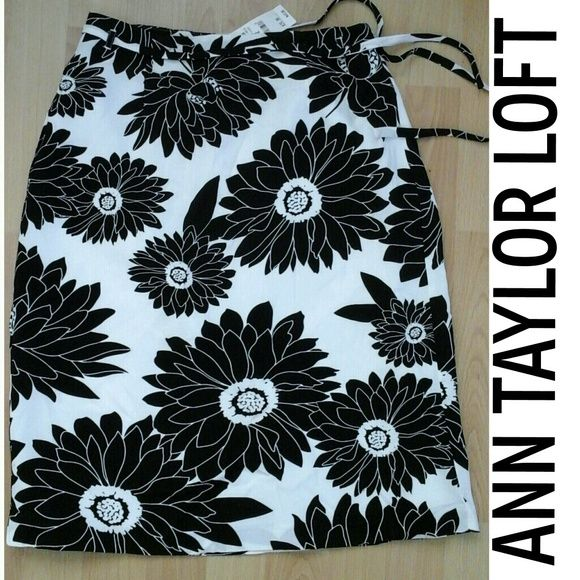 New lined Floral Skirt by Ann Taylor Loft Gorgeous Floral pencil skirt with ribbon belt. Size 2 LOFT Skirts