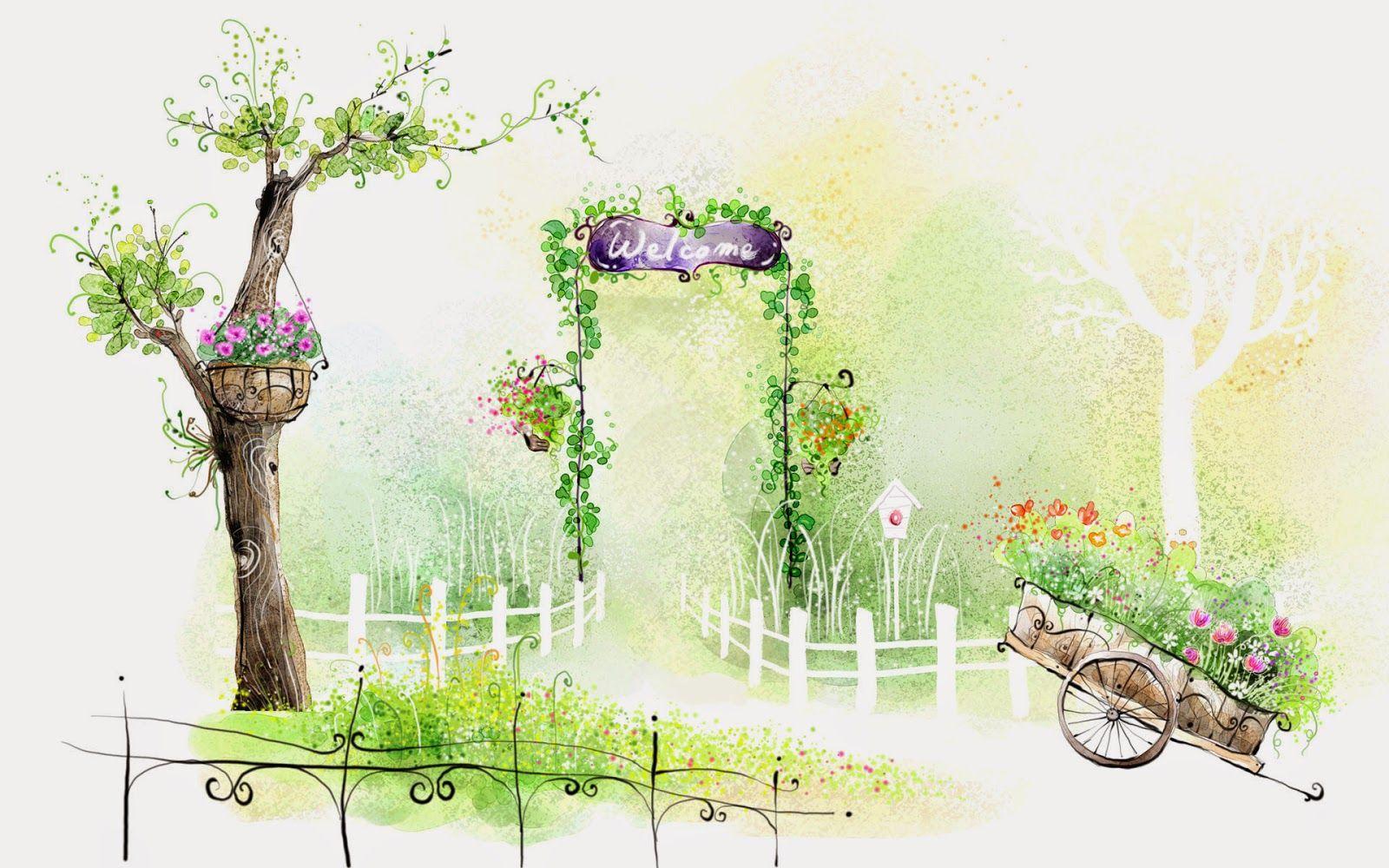 Art Drawing : Romantic Scene Of The Seasons   Romantic Scene   Beautiful  Garden Illustration Painting 27
