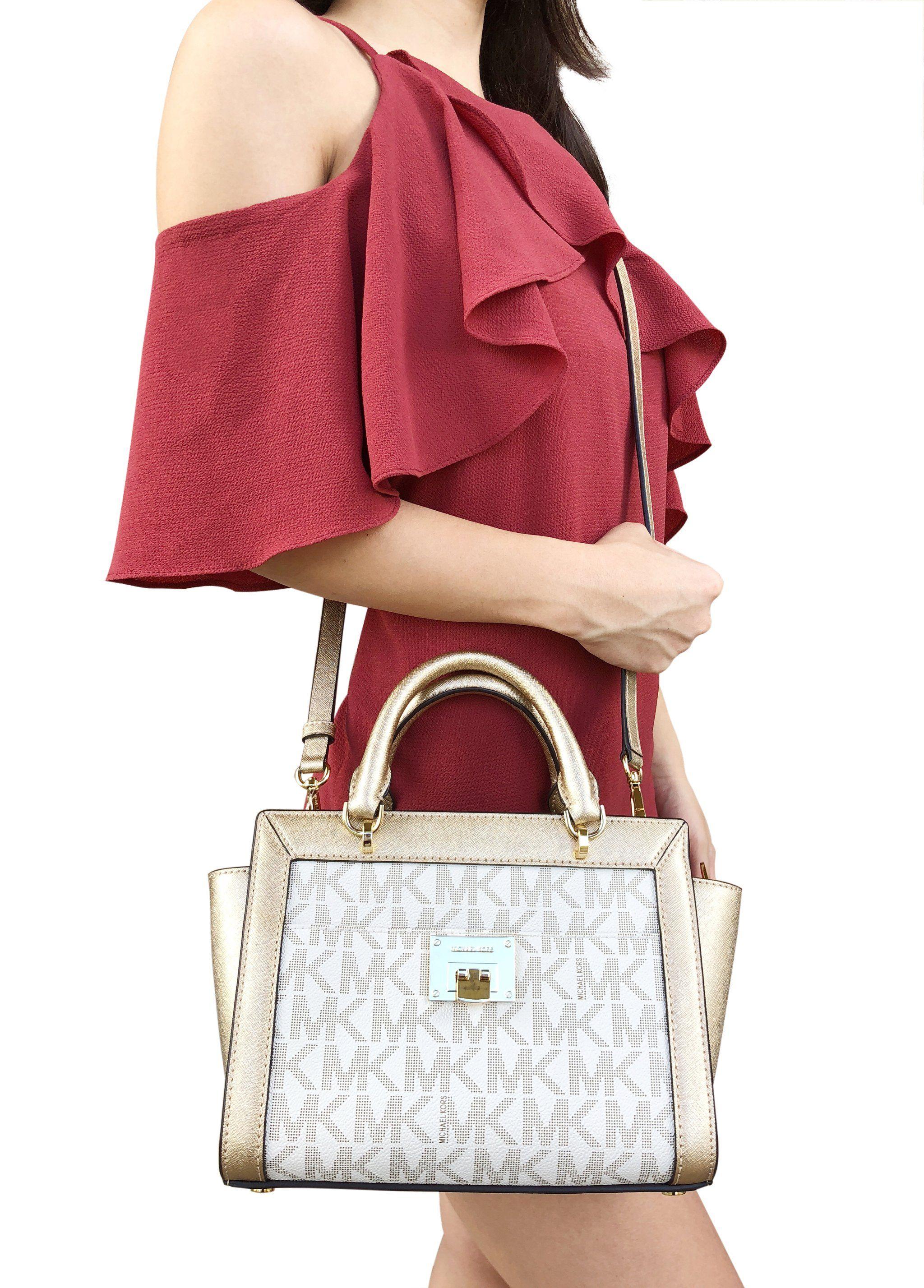 56497a87c8f4 NWT Michael Kors Tina Small Top Zip Satchel Handbag Crossbody Vanilla MK  Gold