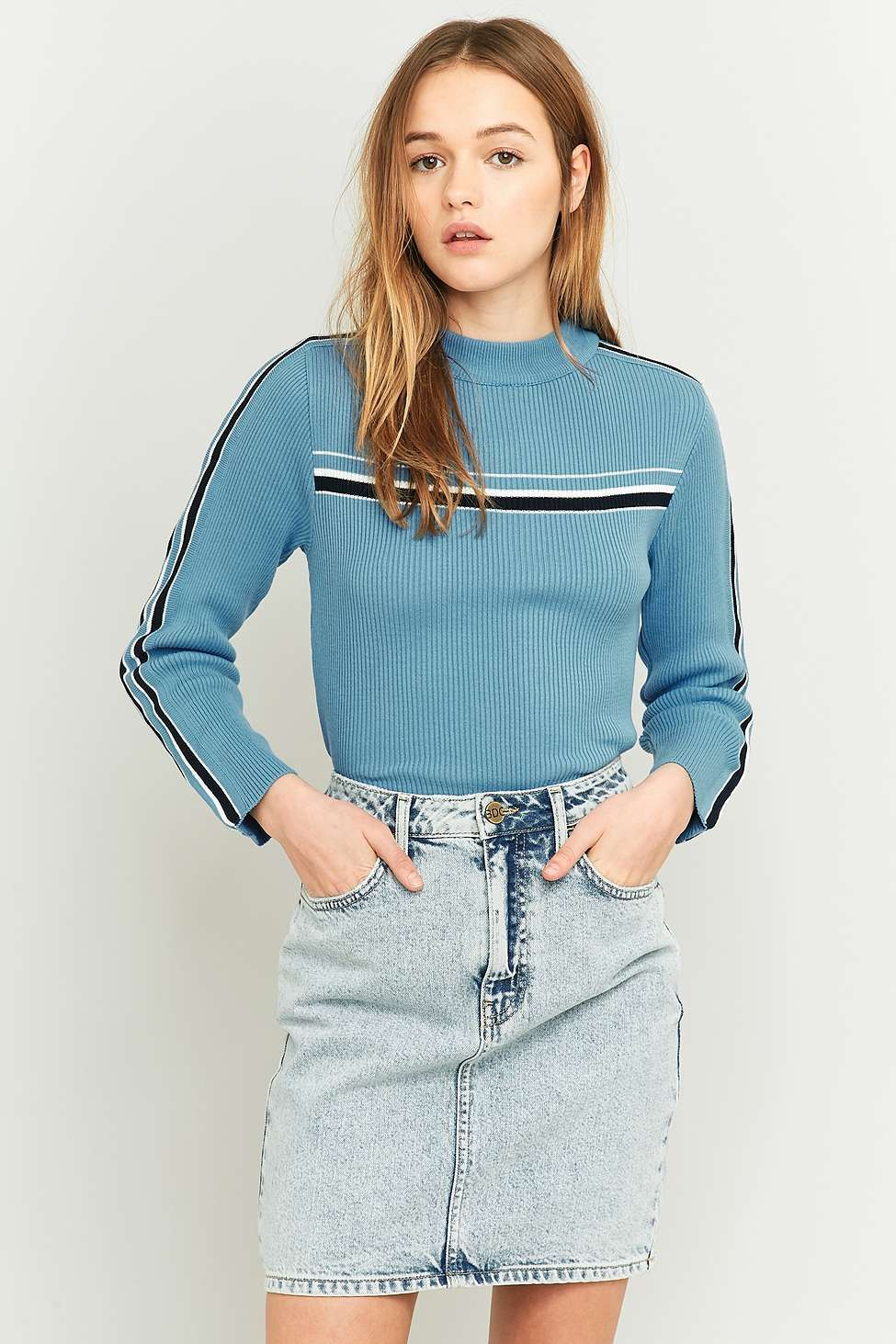 Urban Outfitters Placement Stripe Blue Turtleneck Jumper