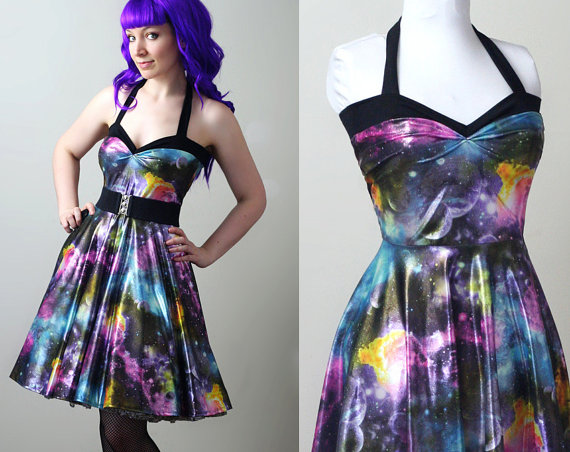 2e9f31dff57 holographic galaxy space nebula Yvonne swing dress by smarmyclothes ...