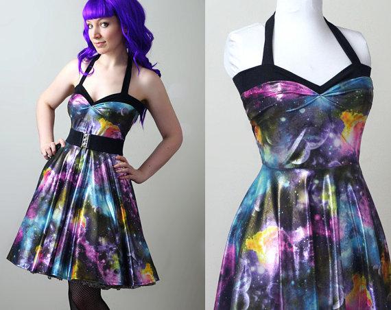 Space nebula dress- Womens galaxy halterneck 50's style   Dark ...