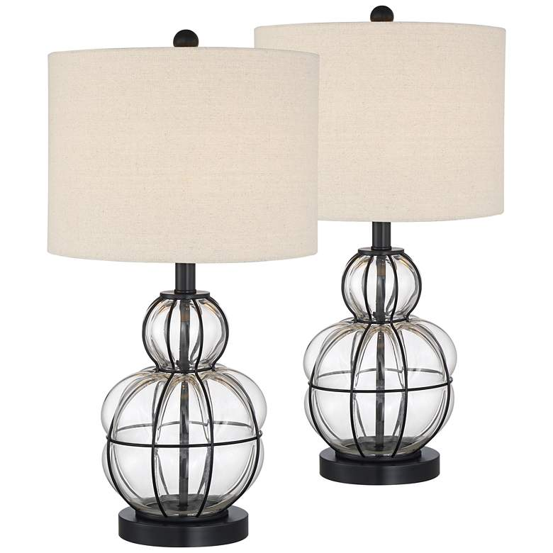 Eric Blown Glass Gourd Table Lamps Set of 2 73D80
