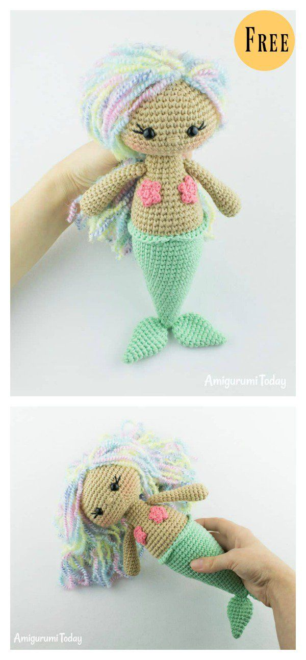 6 Crochet Amigurumi Mermaid Doll Patterns | Patrones