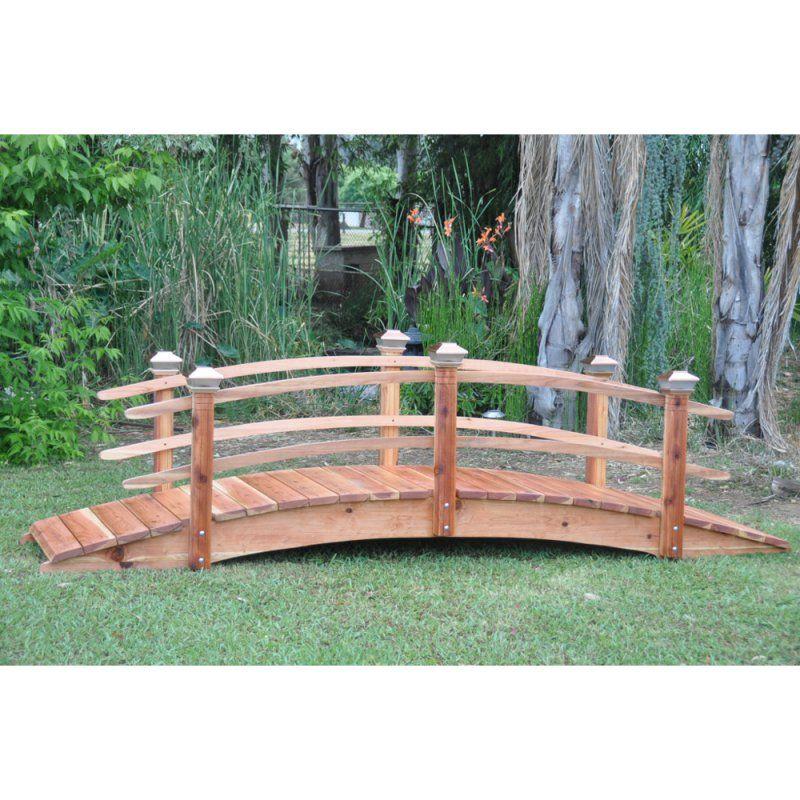 Best Redwood 12 Ft Curved Rail Garden Bridge 12Cdr Sl 640 x 480