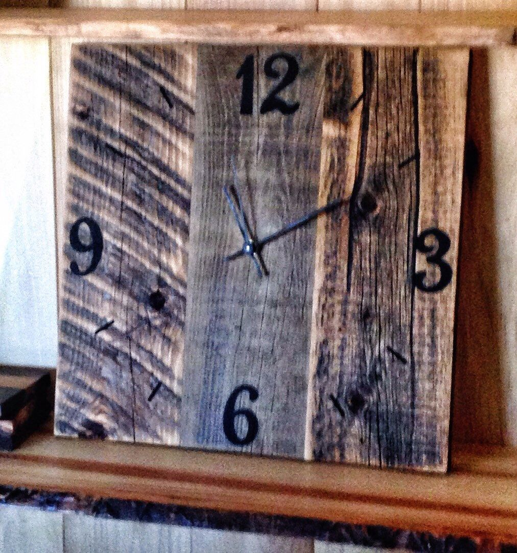 Rustic Barn Wood Clock Reclaimed Wood Clock Large Unique Wall Clocks ...