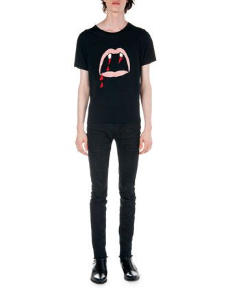 Fang-Print+Tee+&+Frayed+Hem+Skinny+Jeans+by+Saint+Laurent+at+Neiman+Marcus.