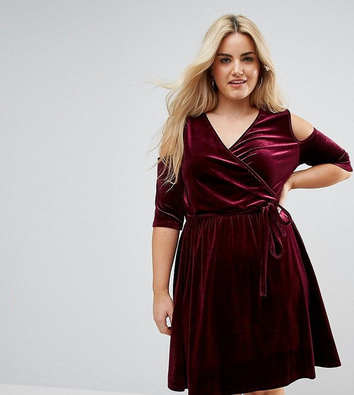 Plus size curvy burgundy velvet holiday special occasion ...