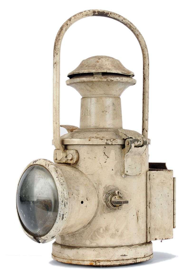 British Railway Lamp finished in white complete with inner