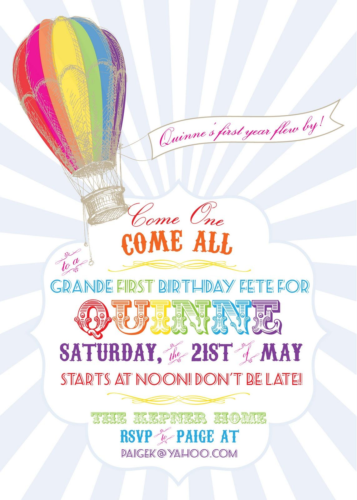 Hot Air Balloon Party Invitations | My LiL Loves 1st B-Day | Pinterest