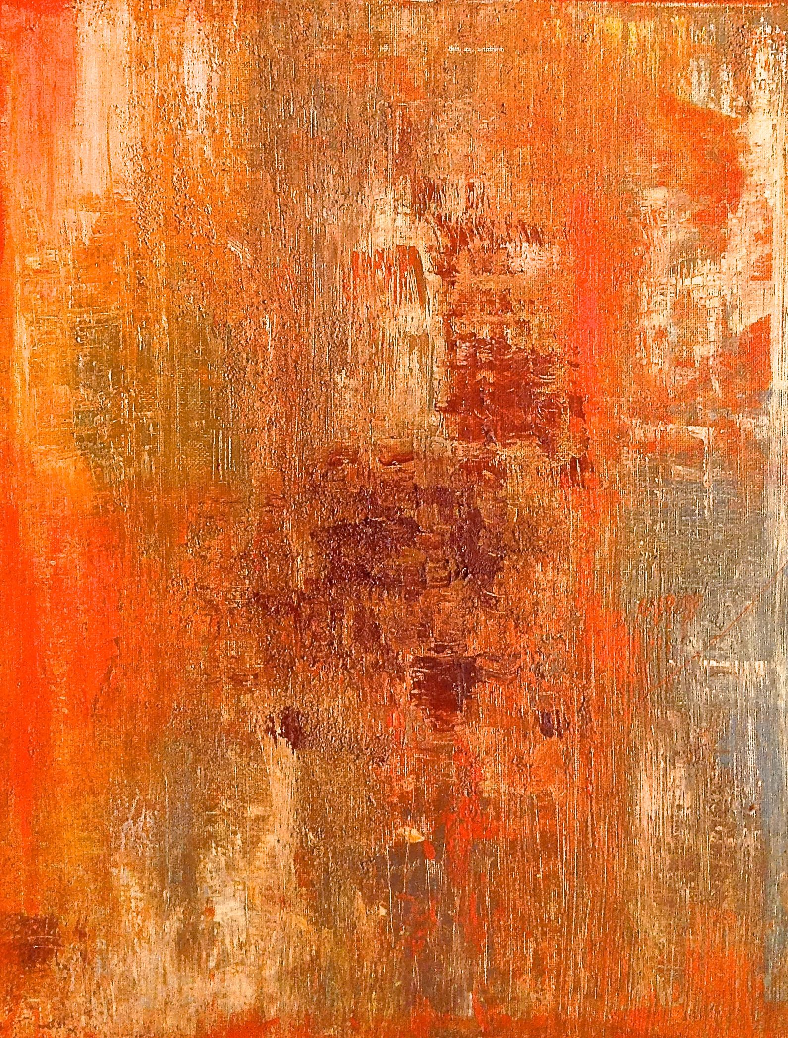 "Orange abstract painting with browns, grays, creams, texture, original painting Title: Palm Springs Heat, 16"" x 20"" https://www.etsy.com/listing/205998547/orange-abstract-painting-with-browns?ref=shop_home_active_9"