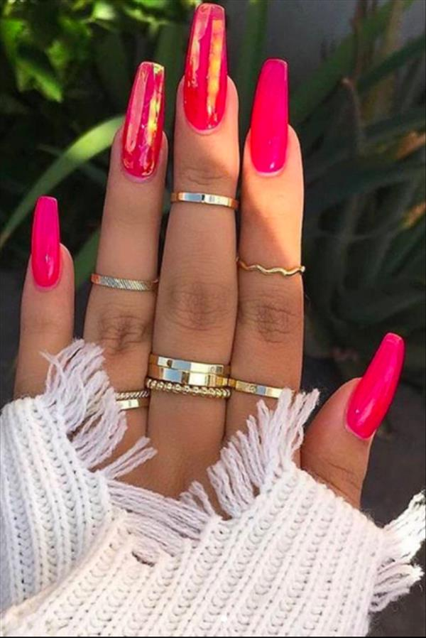 Fashion Baddie Nails Follow The Mainstream Of This Season The First Hand Fashion News For Females In 2020 Pink Summer Nails Coffin Nails Designs Vibrant Nails