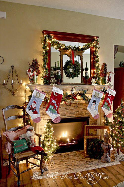 10 Christmas Mantels Santa Would Be Lucky To Land Under Christmas Fireplace Christmas Mantel Decorations Holiday Mantel