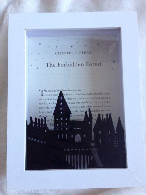 Harry Potter Framed Hogwarts Design On Actual Harry Potter Etsy Harry Potter Etsy Harry Potter Crafts Hogwarts