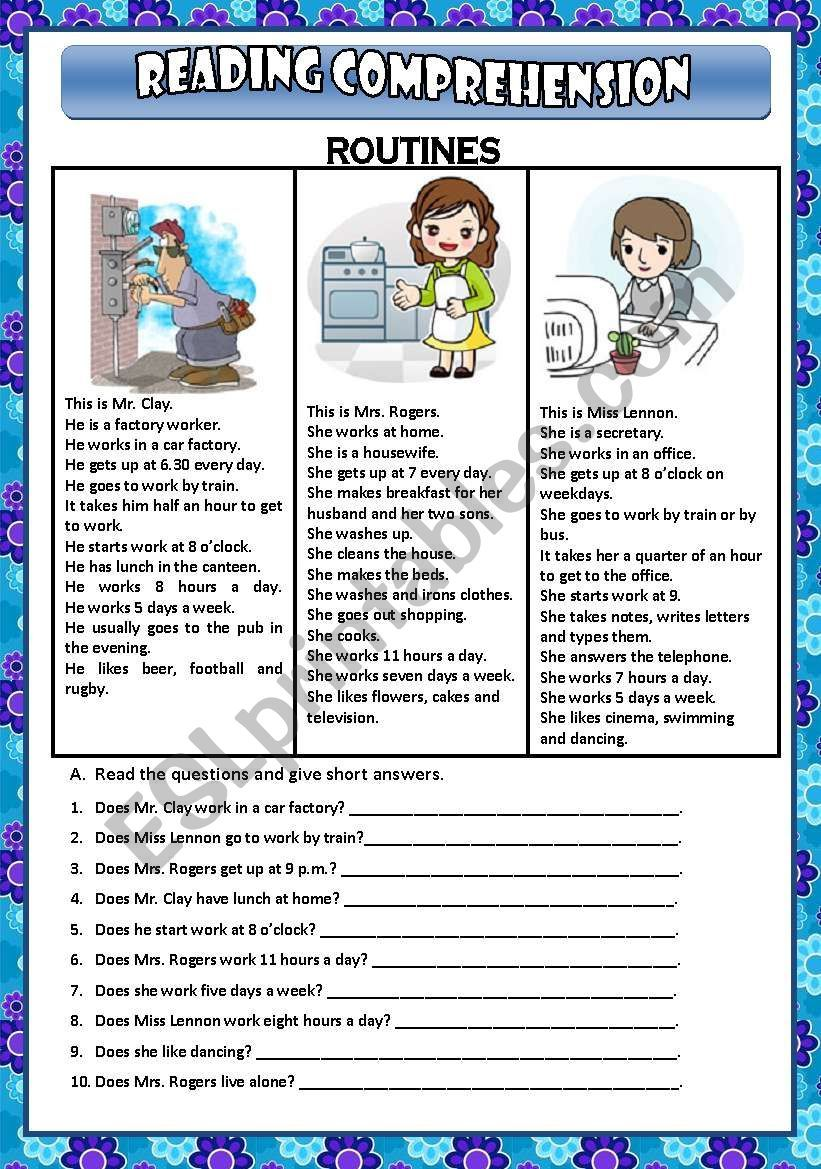 It Is A Reading Comprehension Worksheet About Daily Routines Reading Comprehension Worksheets Comprehension Worksheets Reading Comprehension Reading comprehension worksheets daily