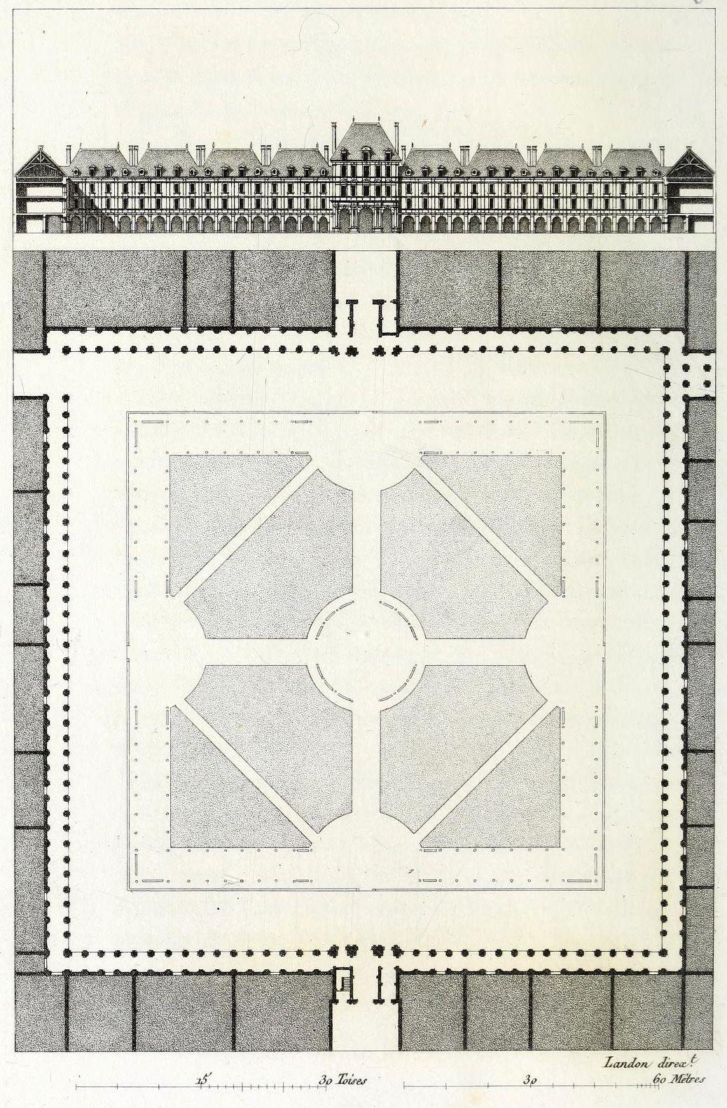 Plan Elevation En Anglais : Elevation and plan of the place des vosges paris