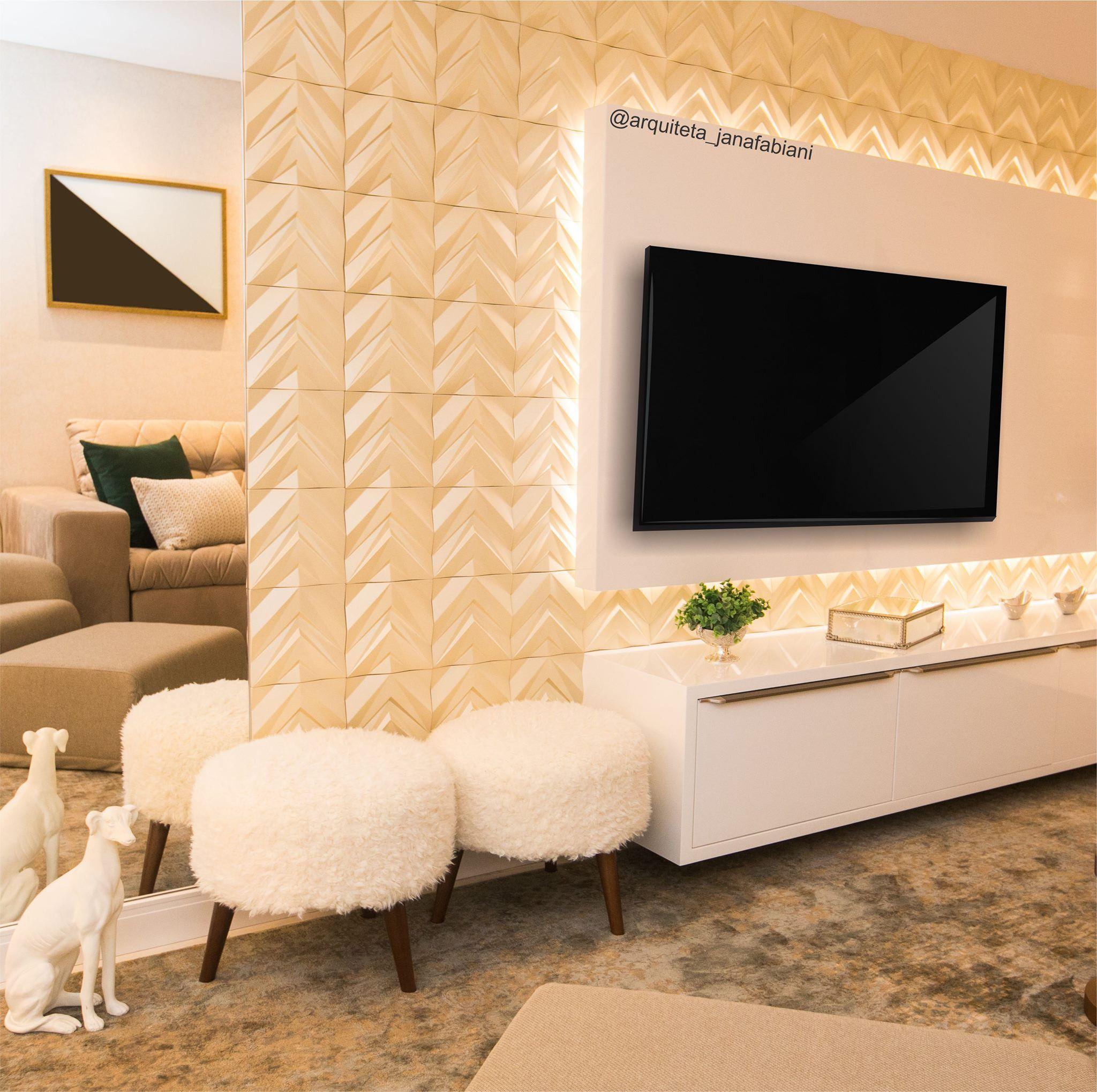 Sala de Tv, acabamento 3d, sala de estar, espelho, home theater ...