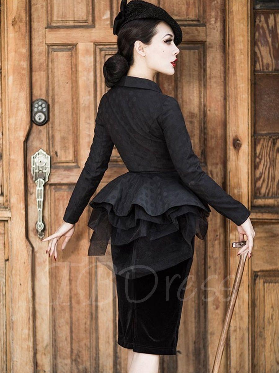 Black long sleeve mesh elegant womenus skirt suit skirt suit