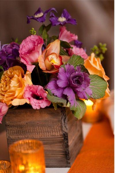 Orange And Purple Wedding Centerpeices In A Box Purple Orange