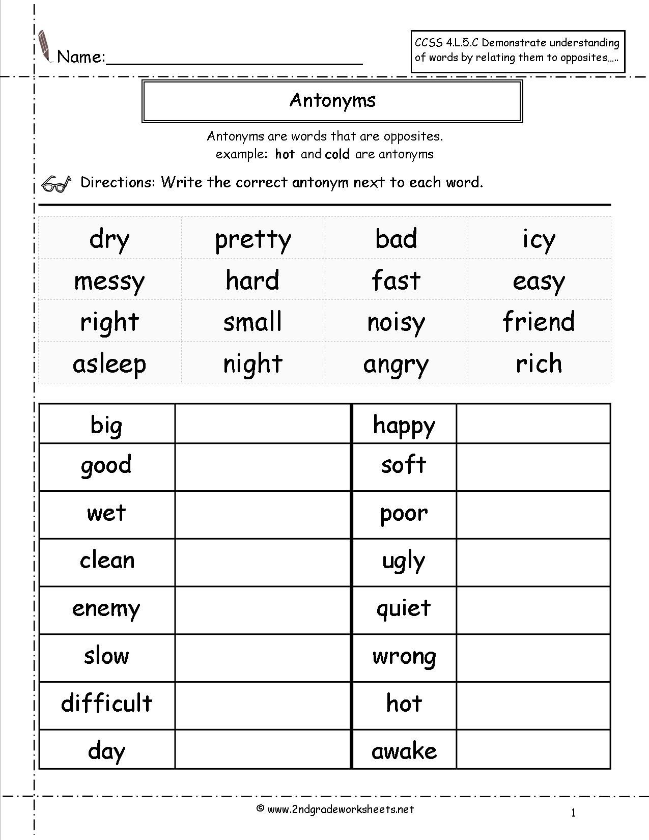 Antonyms Worksheet 2nd Grade Worksheets 1st Grade Worksheets