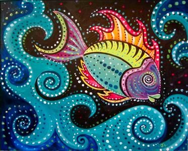 Aboriginal Fish - Sarasota, FL Painting Class - Painting with a Twist