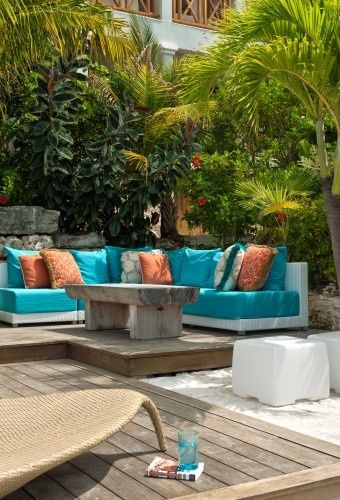 Colors Turquoise And Orange What A Fun Combination For Summer Contemporary Patio By Worth Interiors Outdoor Furniture Inspiration Contemporary Patio Blue Patio Furniture