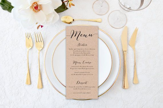 Menu Card Wedding Template Print Custom Printable Wedding Banquet