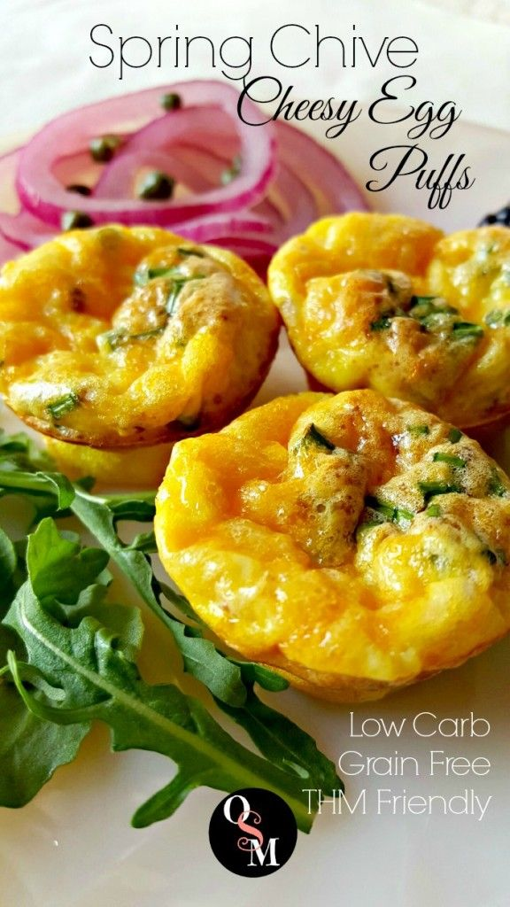Spring Chive Cheesy Egg Puffs These Spring Chive Cheesy Egg Puffs are super easy to make! and friendly too! Bring a little Spring into your morning any time of year.