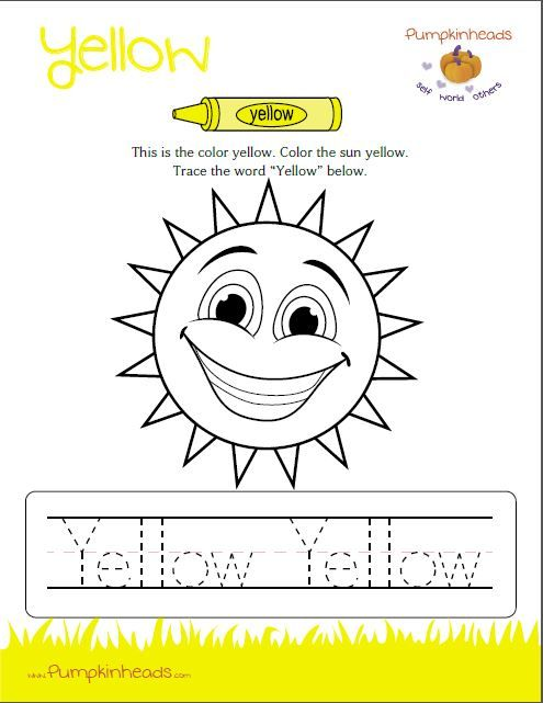 Check Out Our Pumpkinheads Worksheets For The Classroom And At Home This One Is The Color Yellow Preschool Colors Preschool Worksheets Teaching Preschool